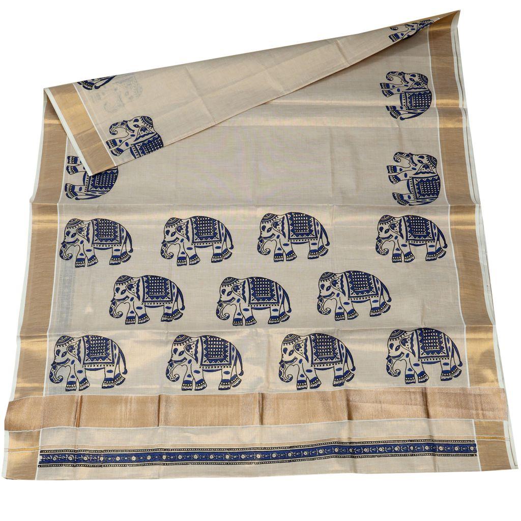 Gajaveera Collection Hand Block Prints Tissue Cotton Saree