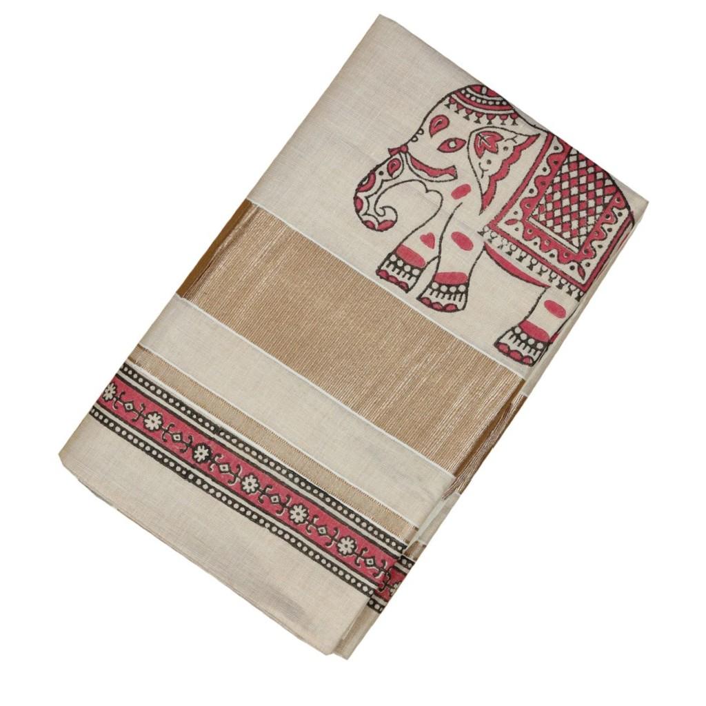 Gajaveera Collection Hand Block Printed Tissue Cotton Saree