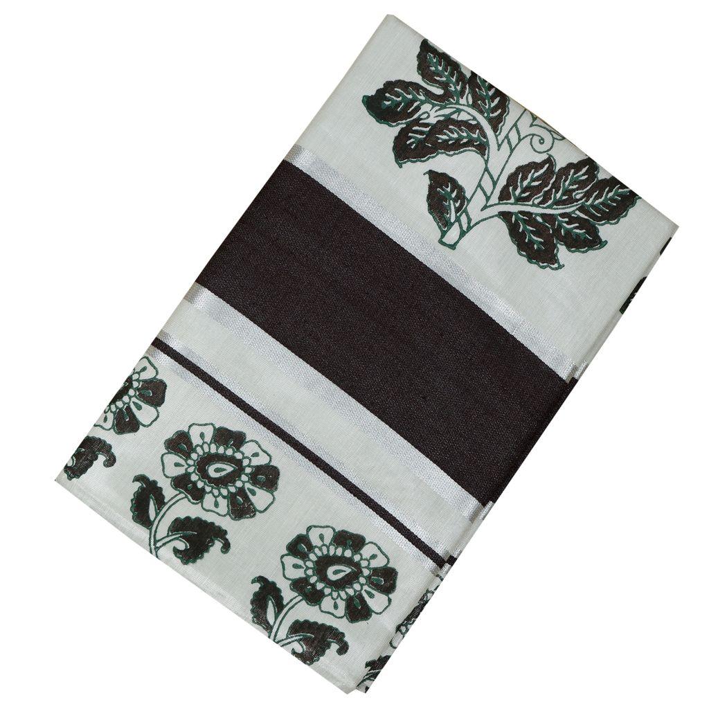 Silver Kasavu Tissue Saree With Floral Hand Block Prints