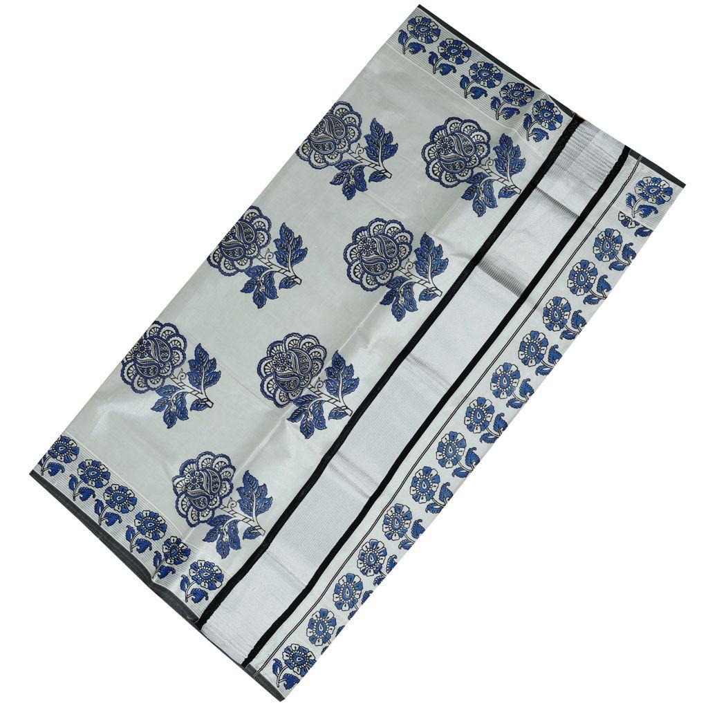Floral Hand Block Prints In Silver Border Saree