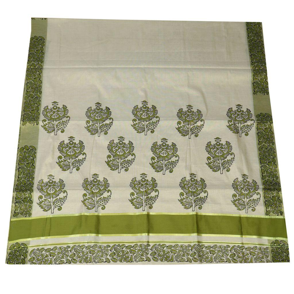 Floral Hand Block Prints Saree From Ekatva
