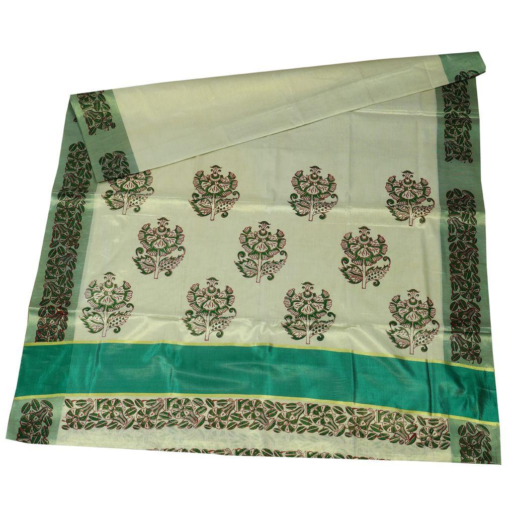 Cotton Hand Block Print Sarees With Floral Design