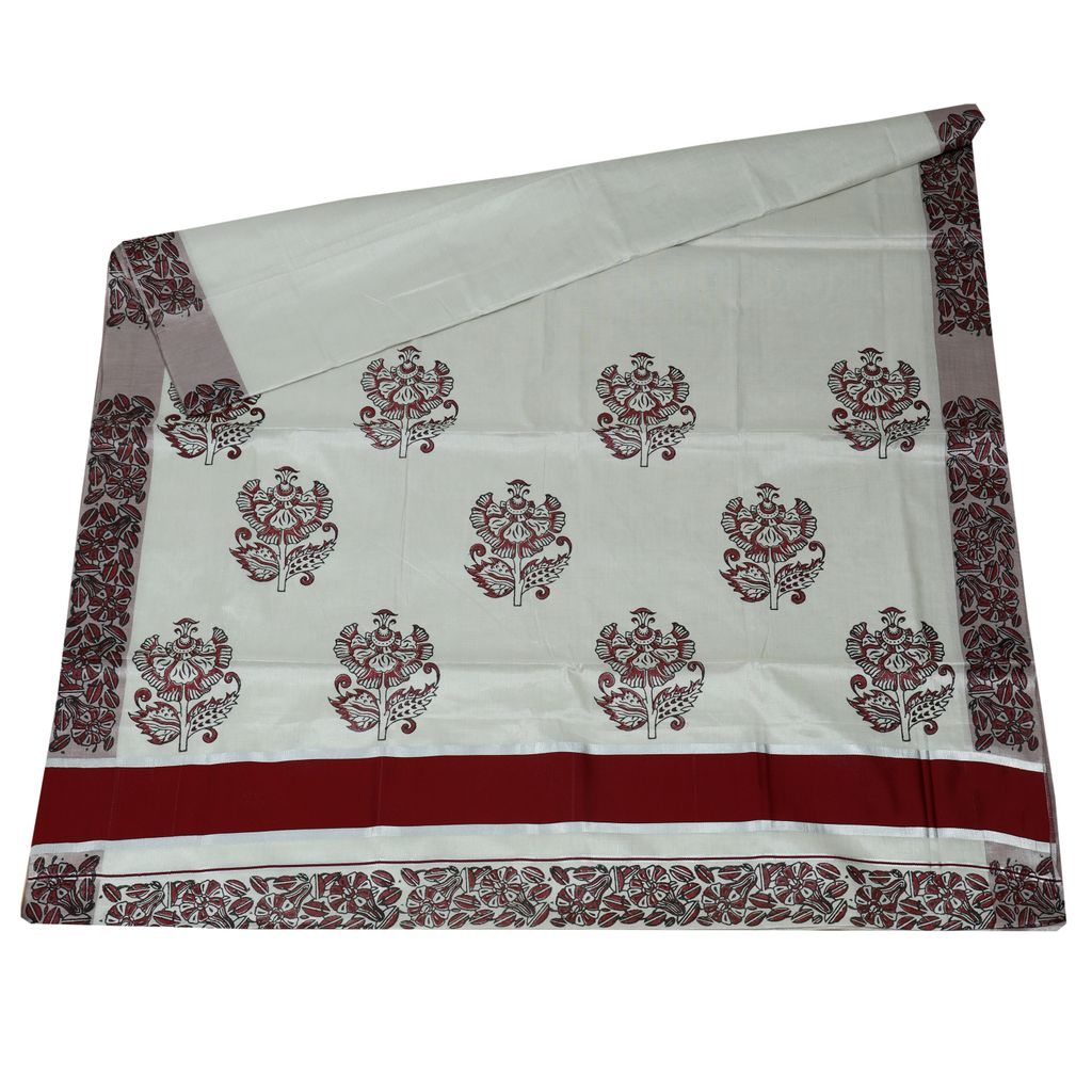Cotton Tissue Saree With Floral Hand Block Prints