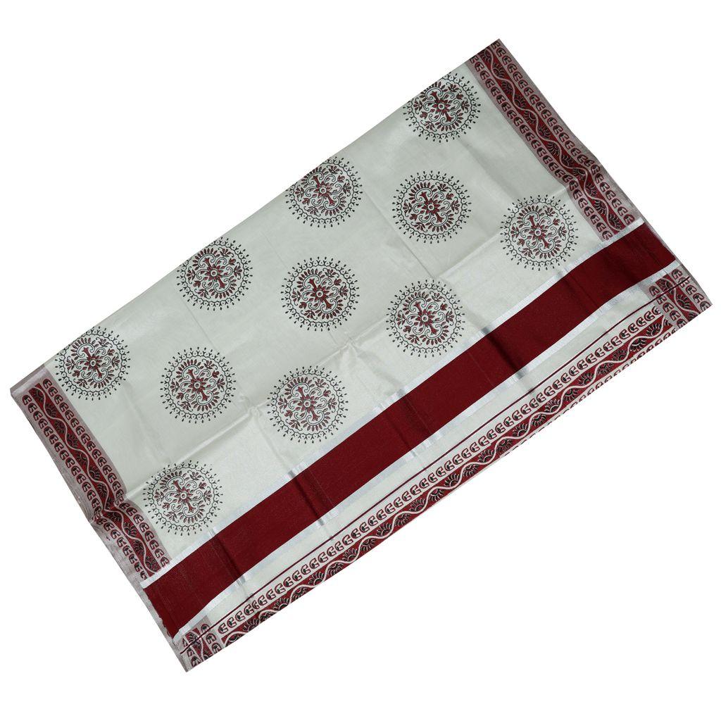 Hand Block Printed Saree In Silver Kasavu Border