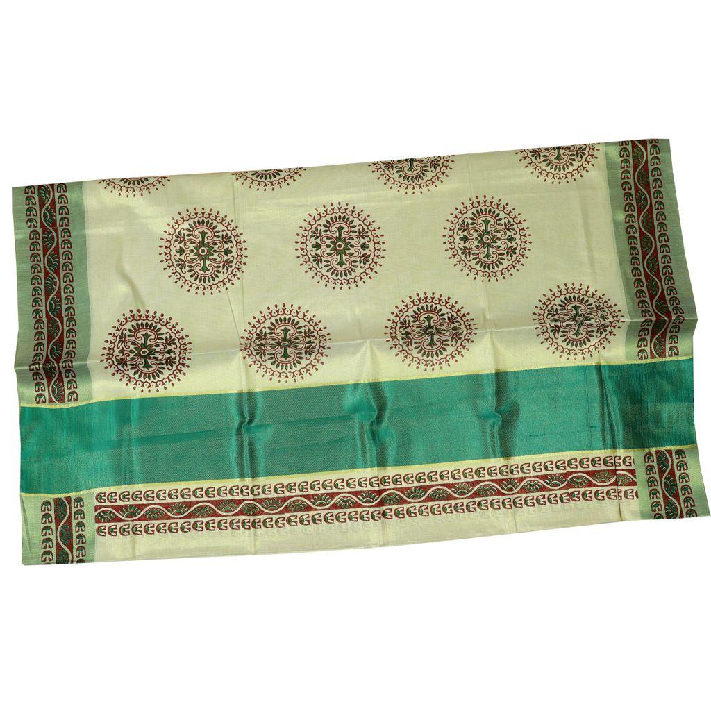 Hand Block Prints In Silver Kasavu Tissue Cotton Saree