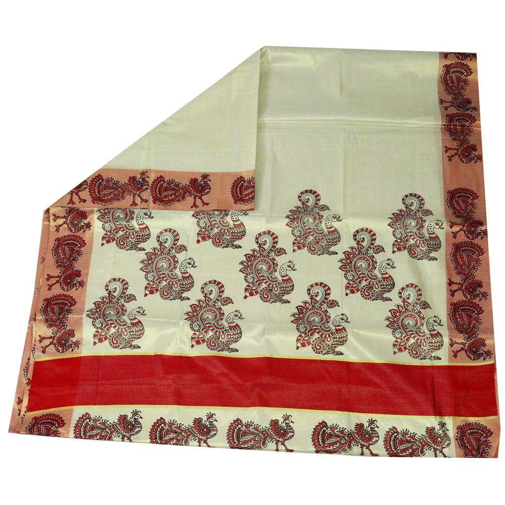 Hand Block Prints In Silver Kasavu Saree