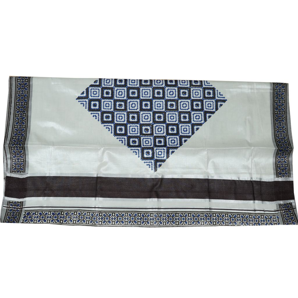 Silver Tissue Saree With Graphic Pixelated Design In Coffee Brown Paired With Cool Blue