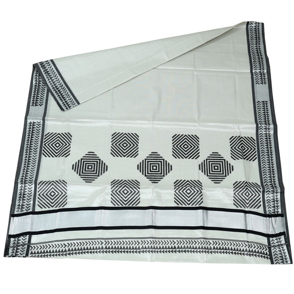 Silver Tissue Saree With Cube Pattern Design