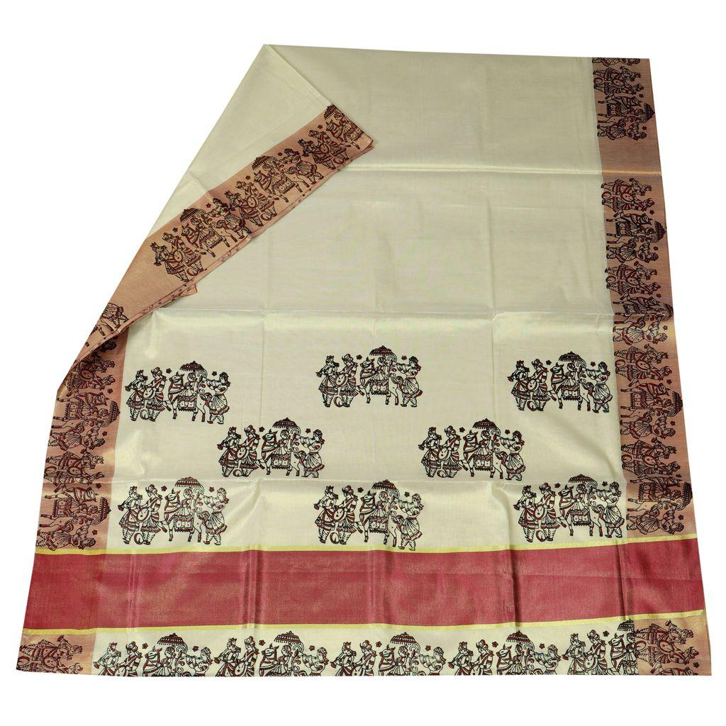 Kasavu Saree With Baraat Wedding Hand Block Prints