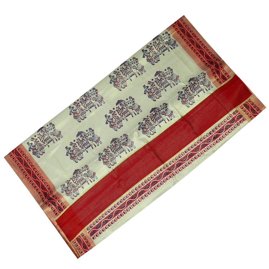 Traditional Kasavu Saree With Wedding Hand Block Print