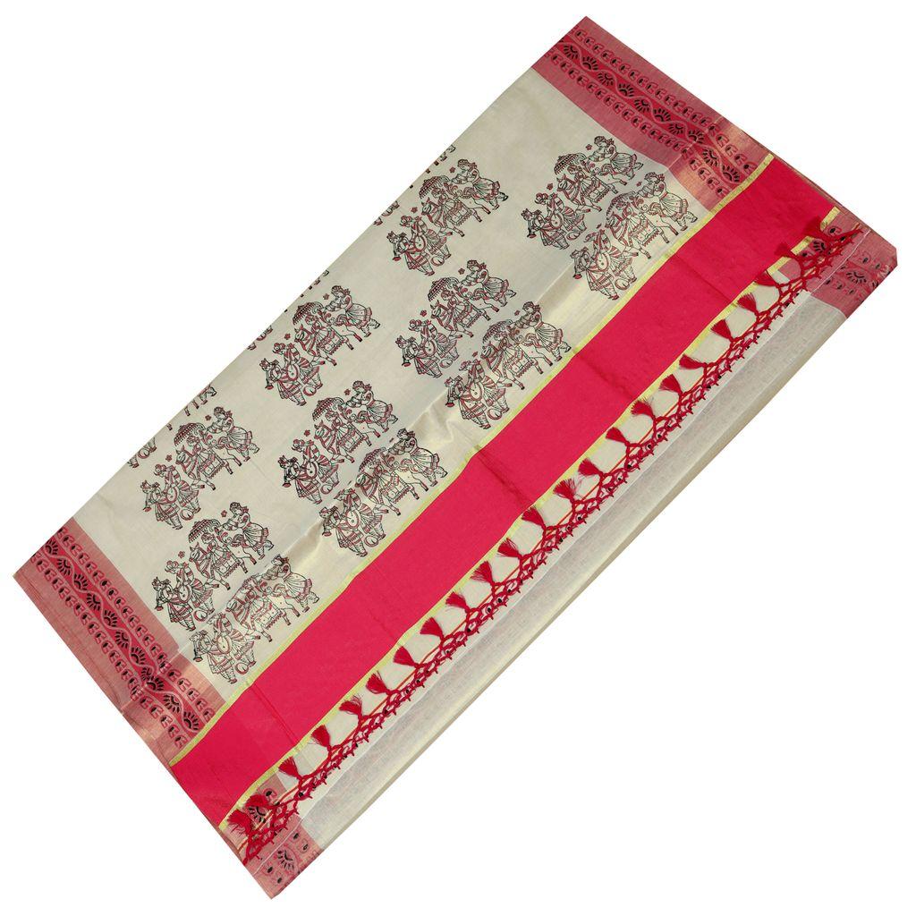 Traditional Kasavu Saree With Wedding Hand Block Print Design