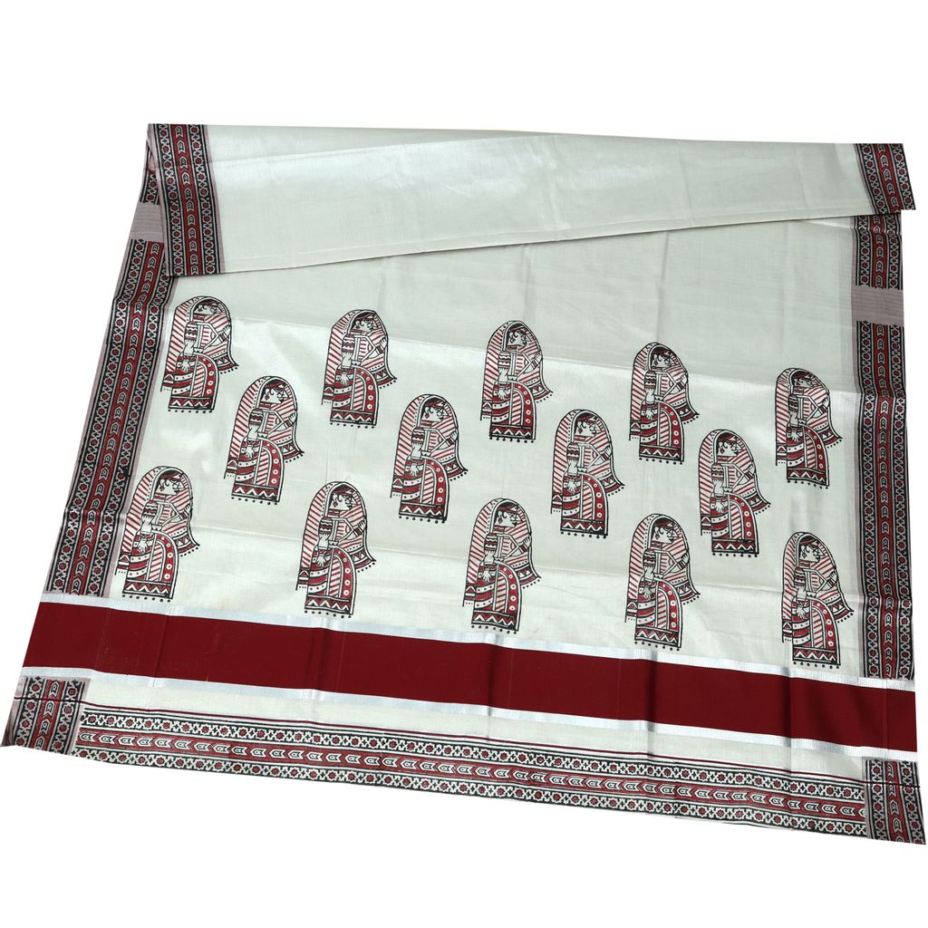Traditional Cotton Tissue Silver Saree With Hand Block Print