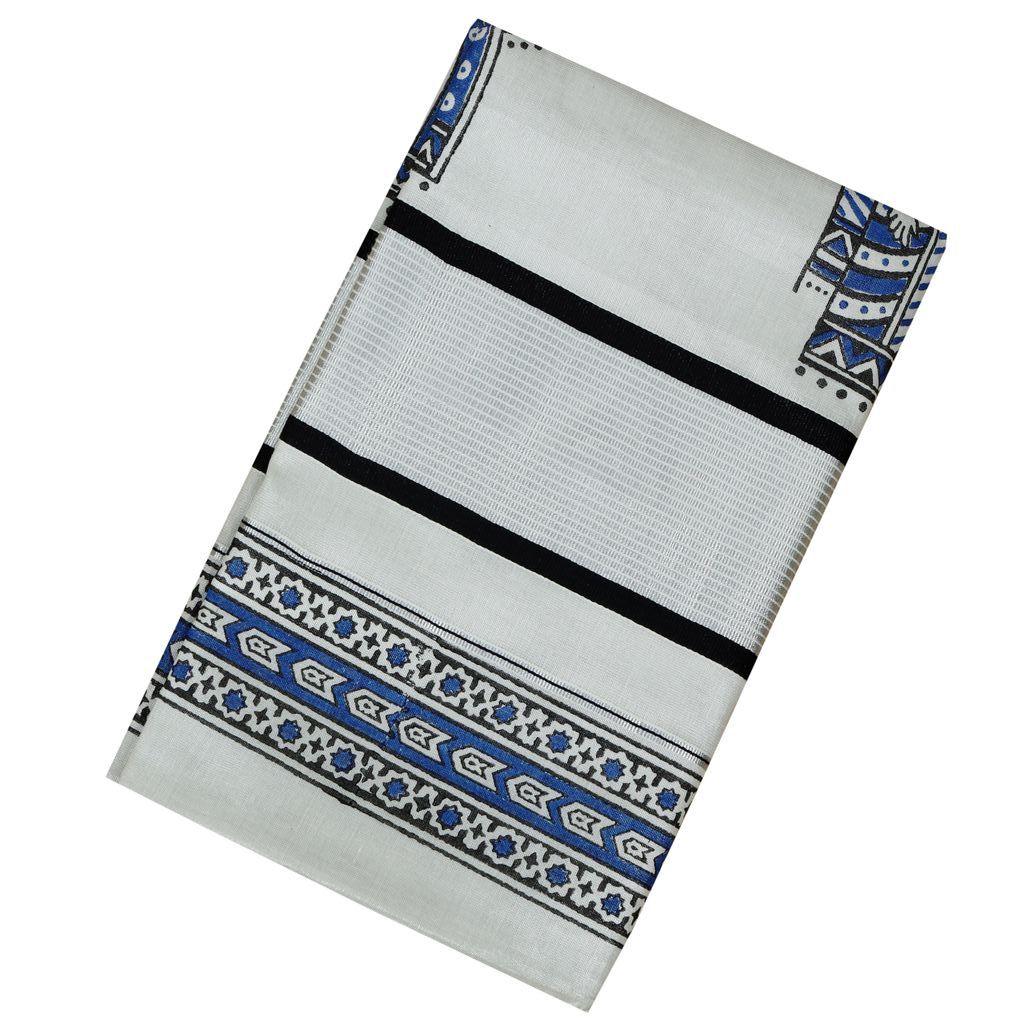 Traditional Hand Block Printed Silver Saree