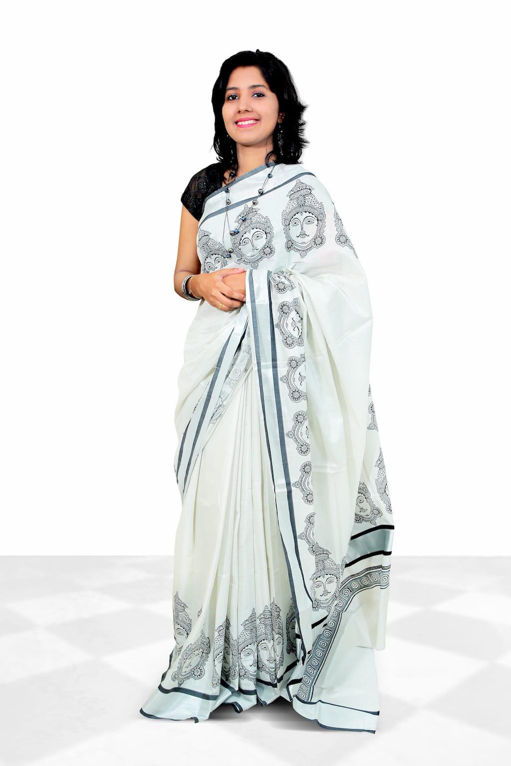 Kerala Cotton Tissue Saree With Hand Block Prints In Silver Kasavu