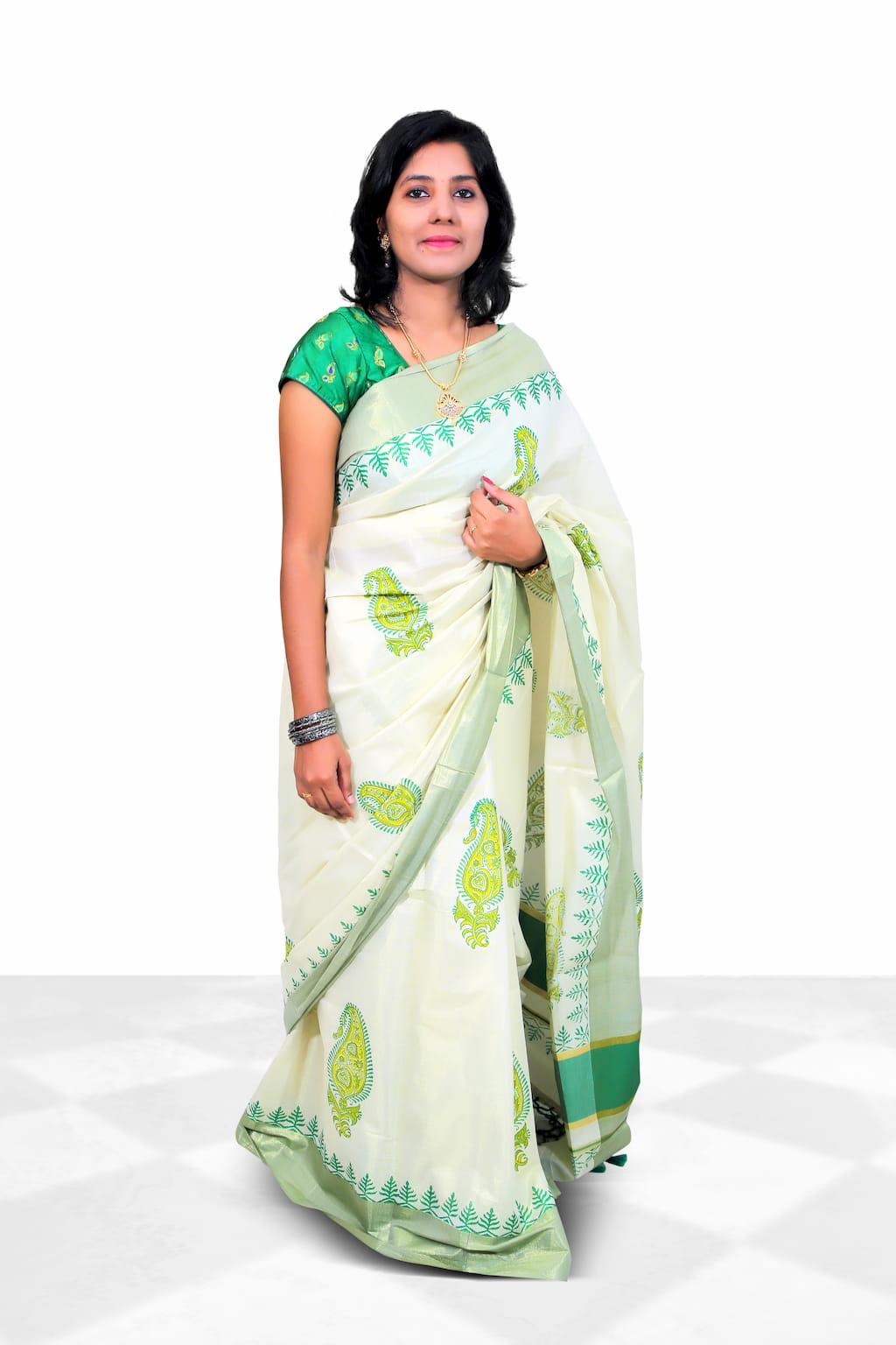 Tissue Cotton Saree With Tissue Saree With Paisley Motif Hand Block Prints