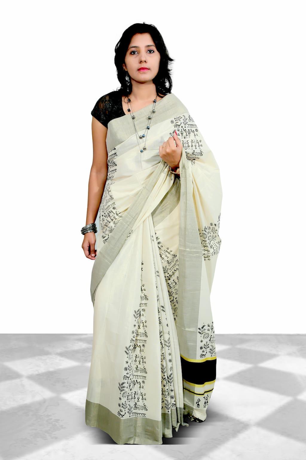 Tissue Cotton Saree With Tissue Saree With Flaunting Warli Prints