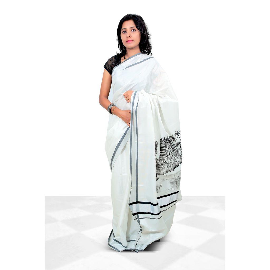 Kerala Cotton Hand Painted Saree