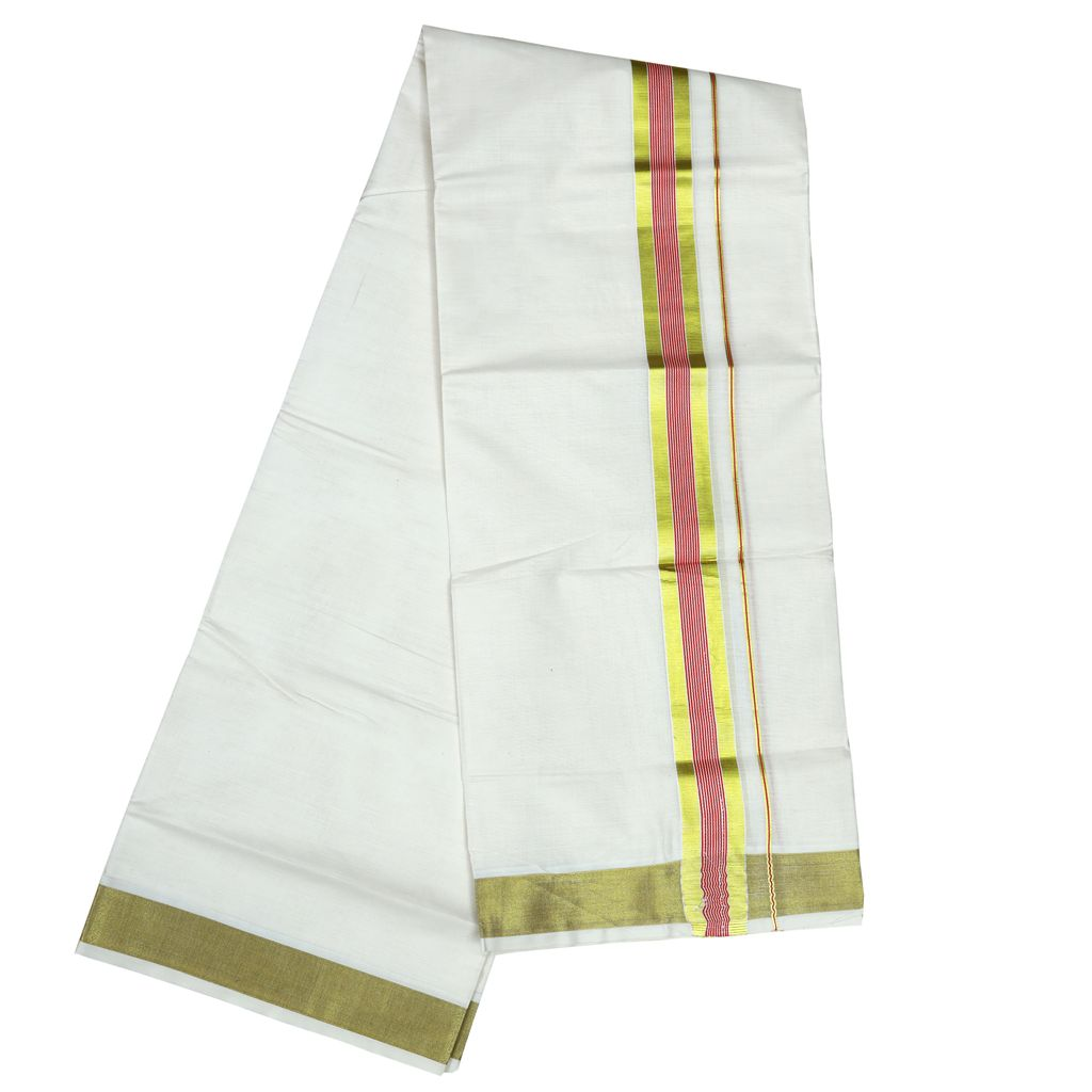 Men's Off-white Dhoti With Maroon Stripes And Golden Border