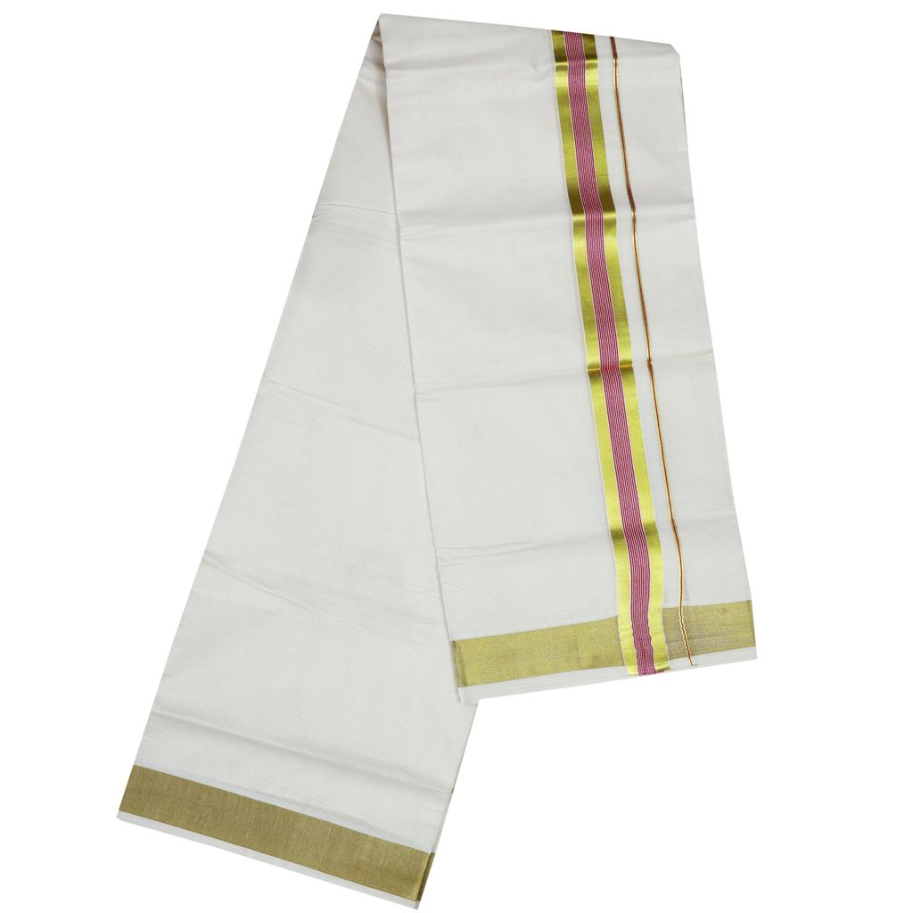 Men's Off-white Dhoti With Purple Stripes And Golden Border