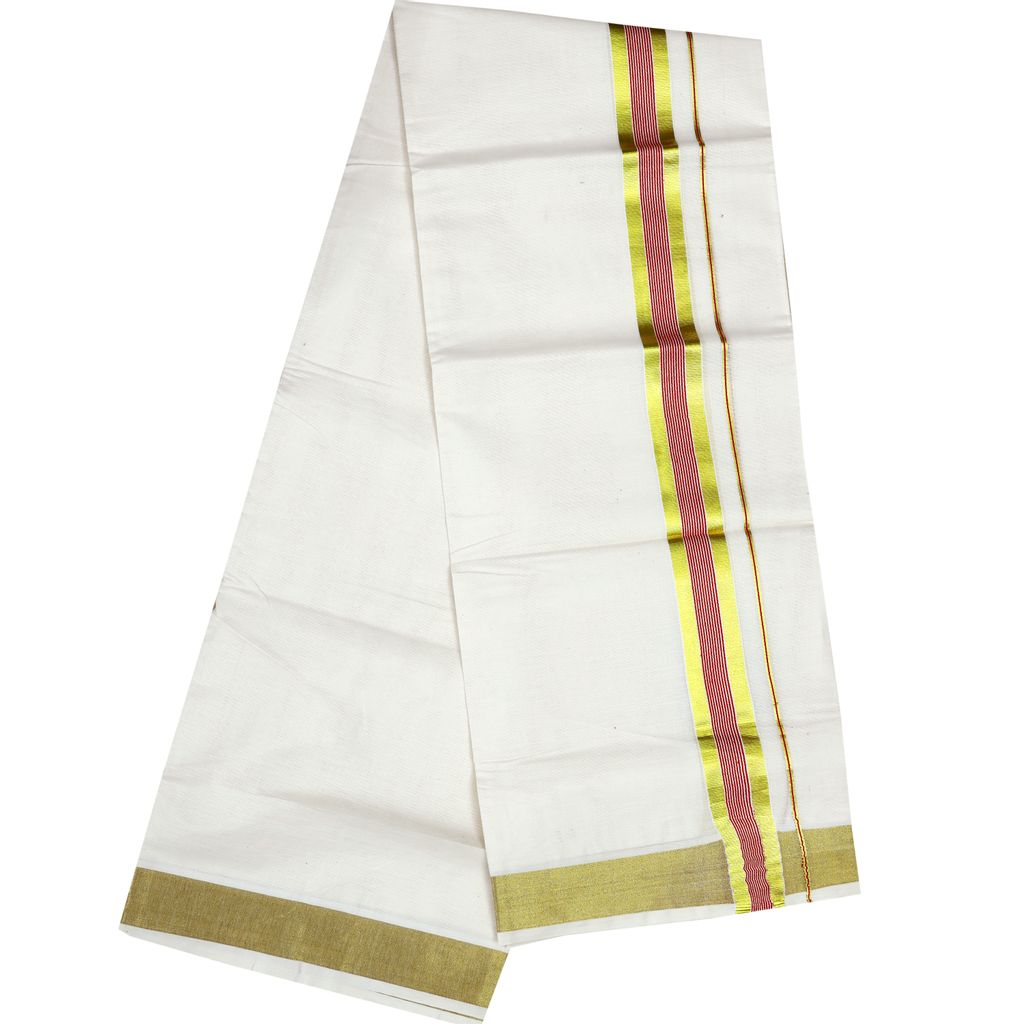Men's Off-white Dhoti With Pink Stripes And Golden Border