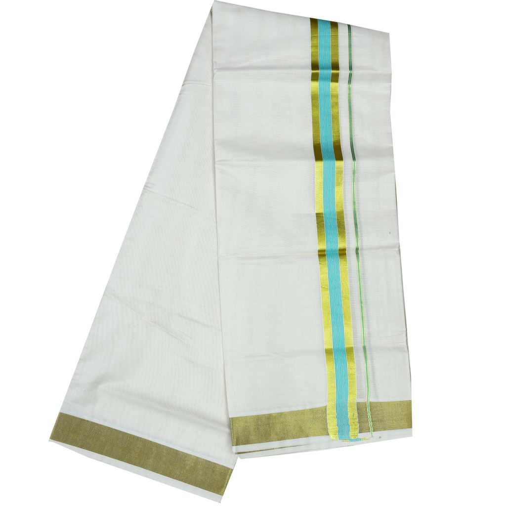 Men's Off White Dhoti With Cyan Stripes And Golden Border