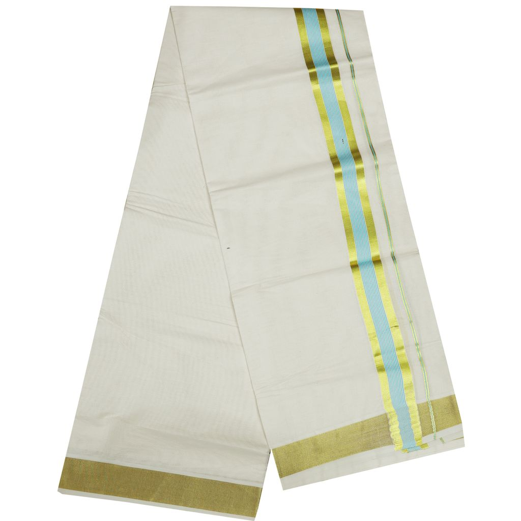 Men's Off White Dhoti With Sky Blue Stripes And Golden Border