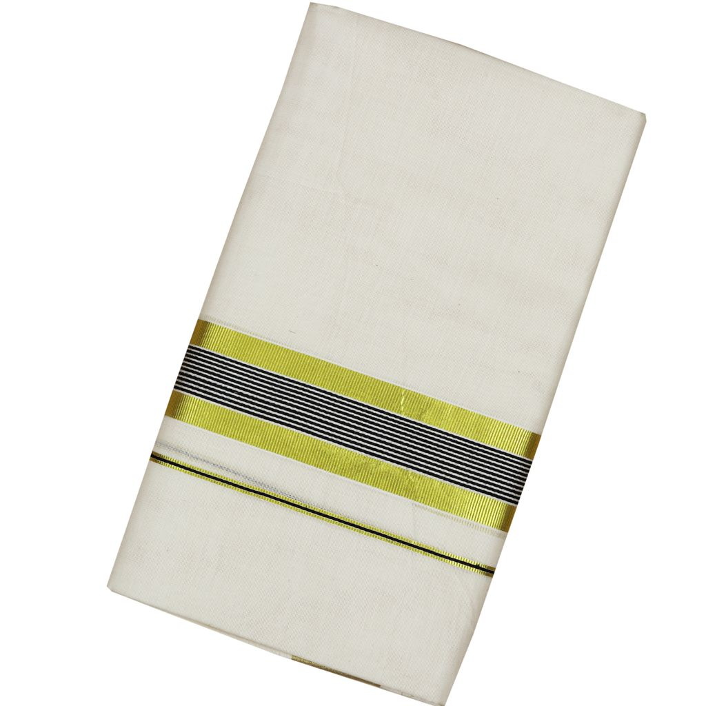 Men's Off-white Dhoti With Black Stripes And Golden Border