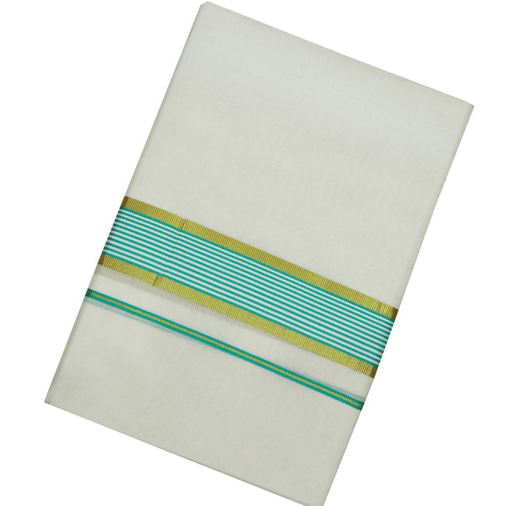 Men's Off-white Dhoti With Cyan Stripes And Golden Border