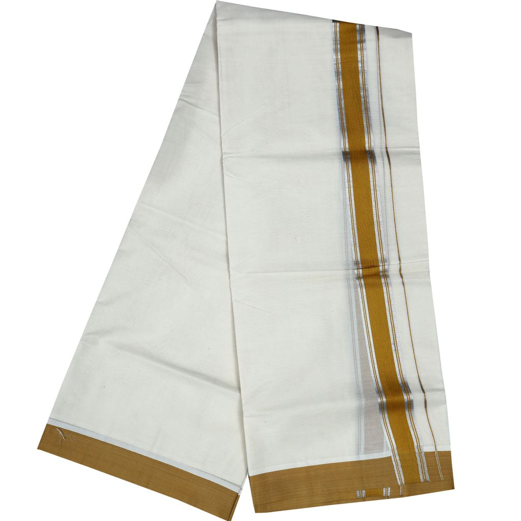 Men's Off White Dhoti With Golden Yellow Border And Silver Stripes