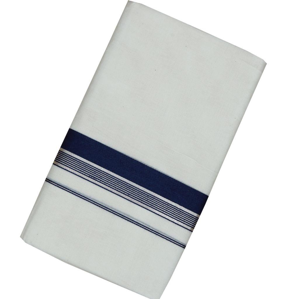 Men's Off White Navy Blue Border Dhoti With Silver Stripes