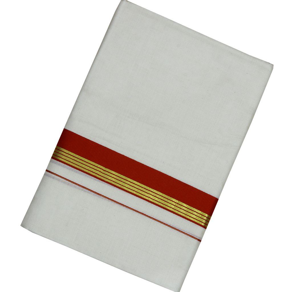 Men's Off White Maroon Border Dhoti With Golden Stripes