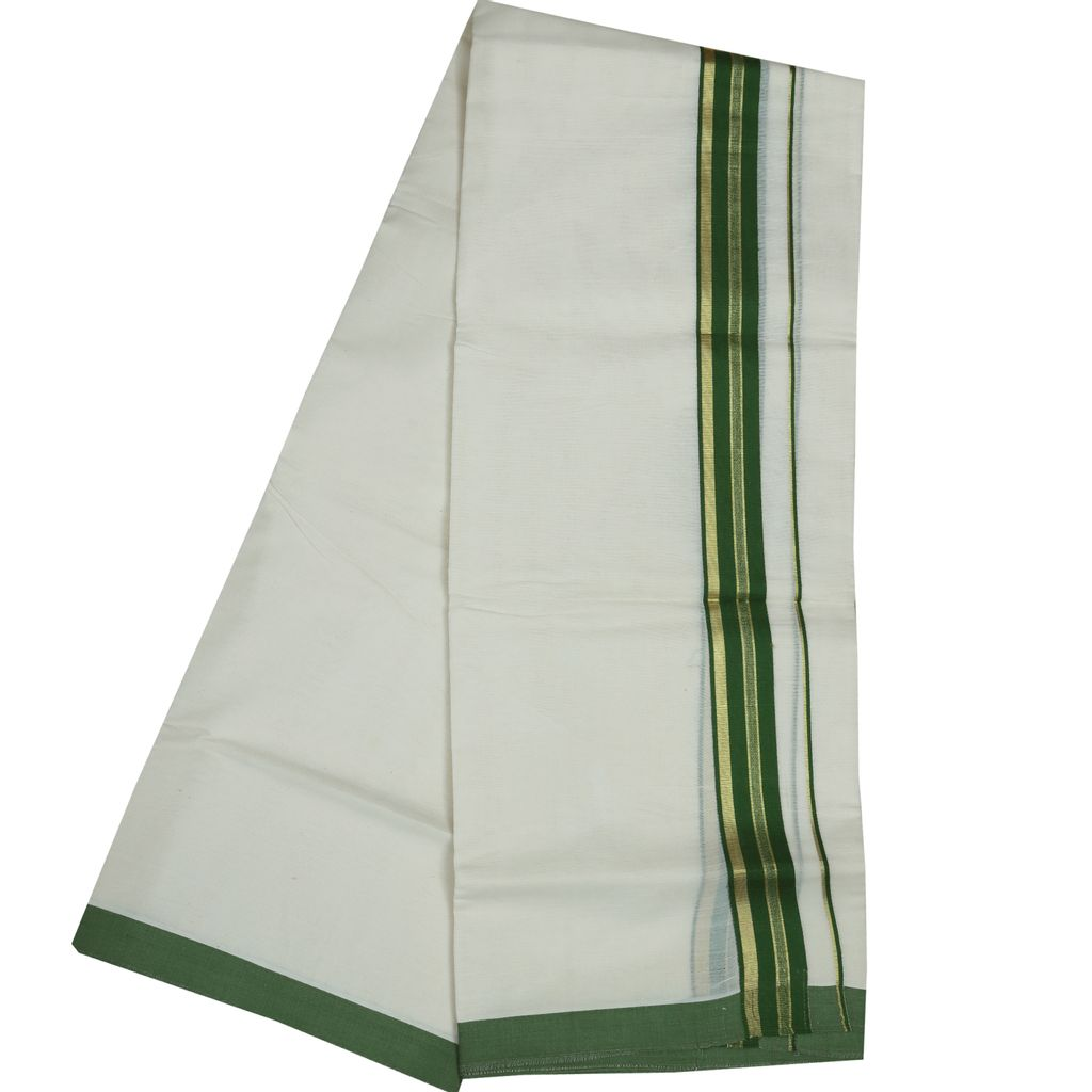 Men's Off White Fancy Border Dhoti With Green And Golden Lines