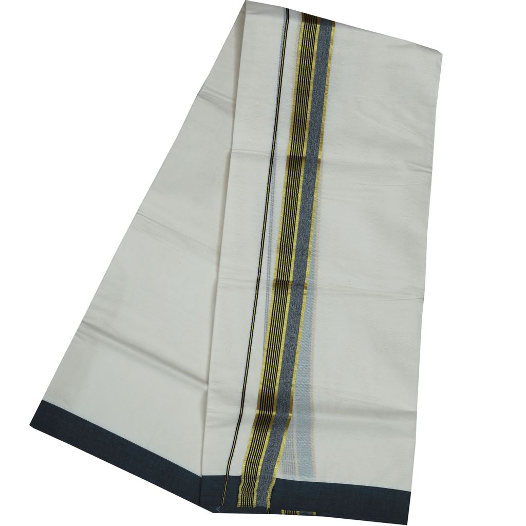 Men's Off White Fancy Border Dhoti With Black And Golden Lines