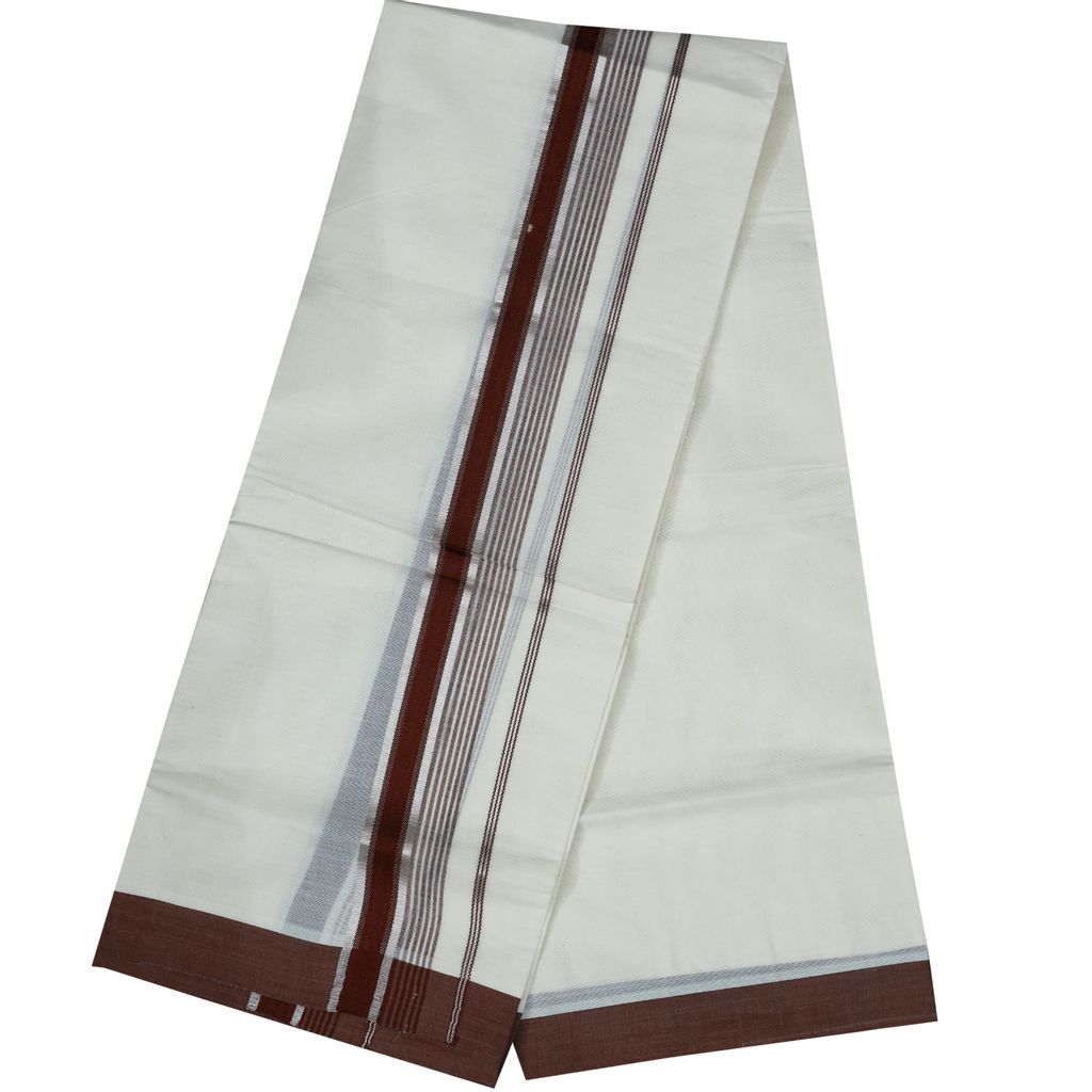 Men's Off White Dhoti With Brown And Silver Border