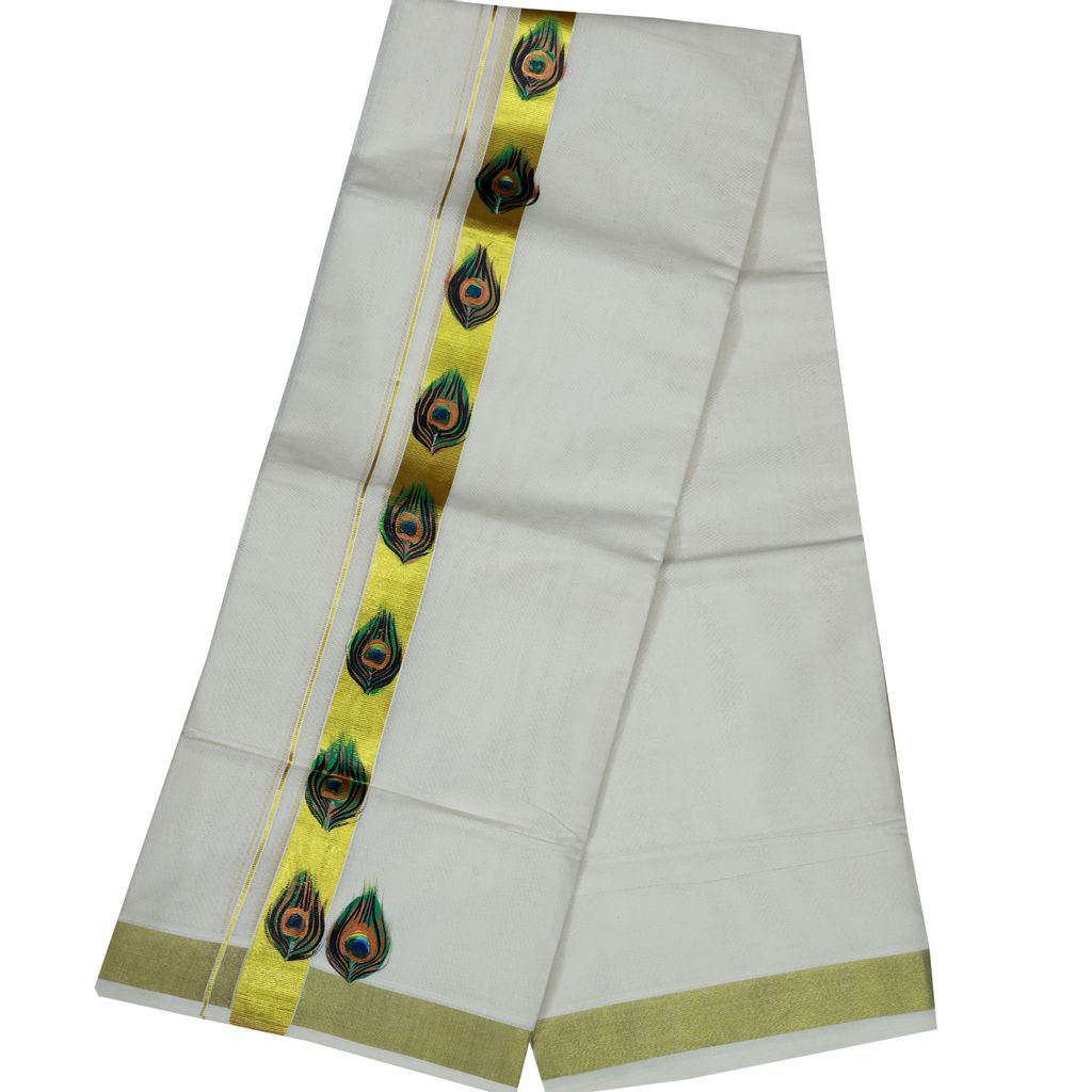 Men's Off White Golden Border Dhoti With Hand Painting