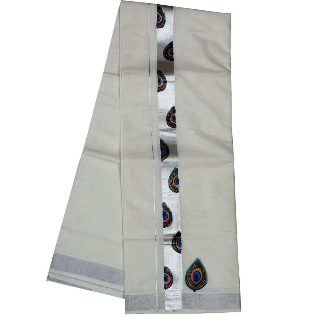 Men's Off White Silver Border Dhoti With Hand Painting