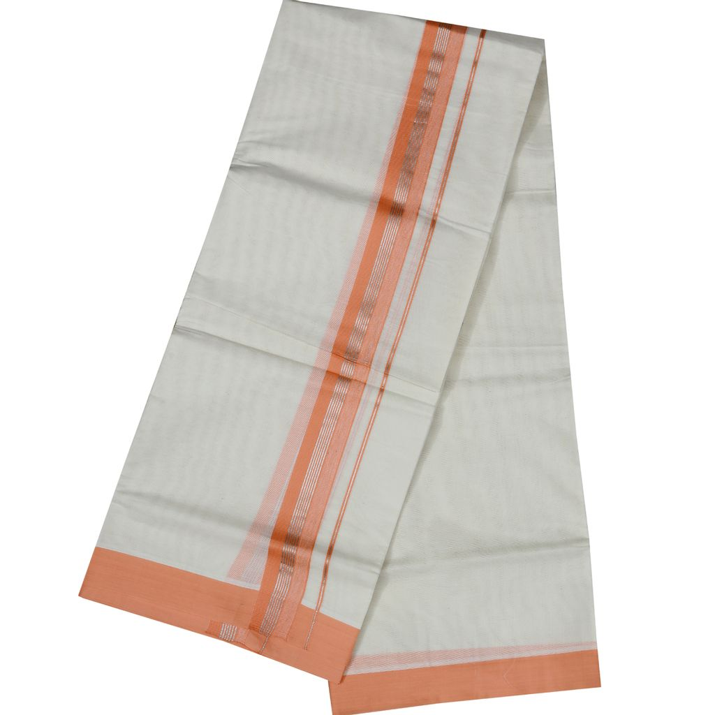 Men's Off White  Dhoti With Rose And Silver Border