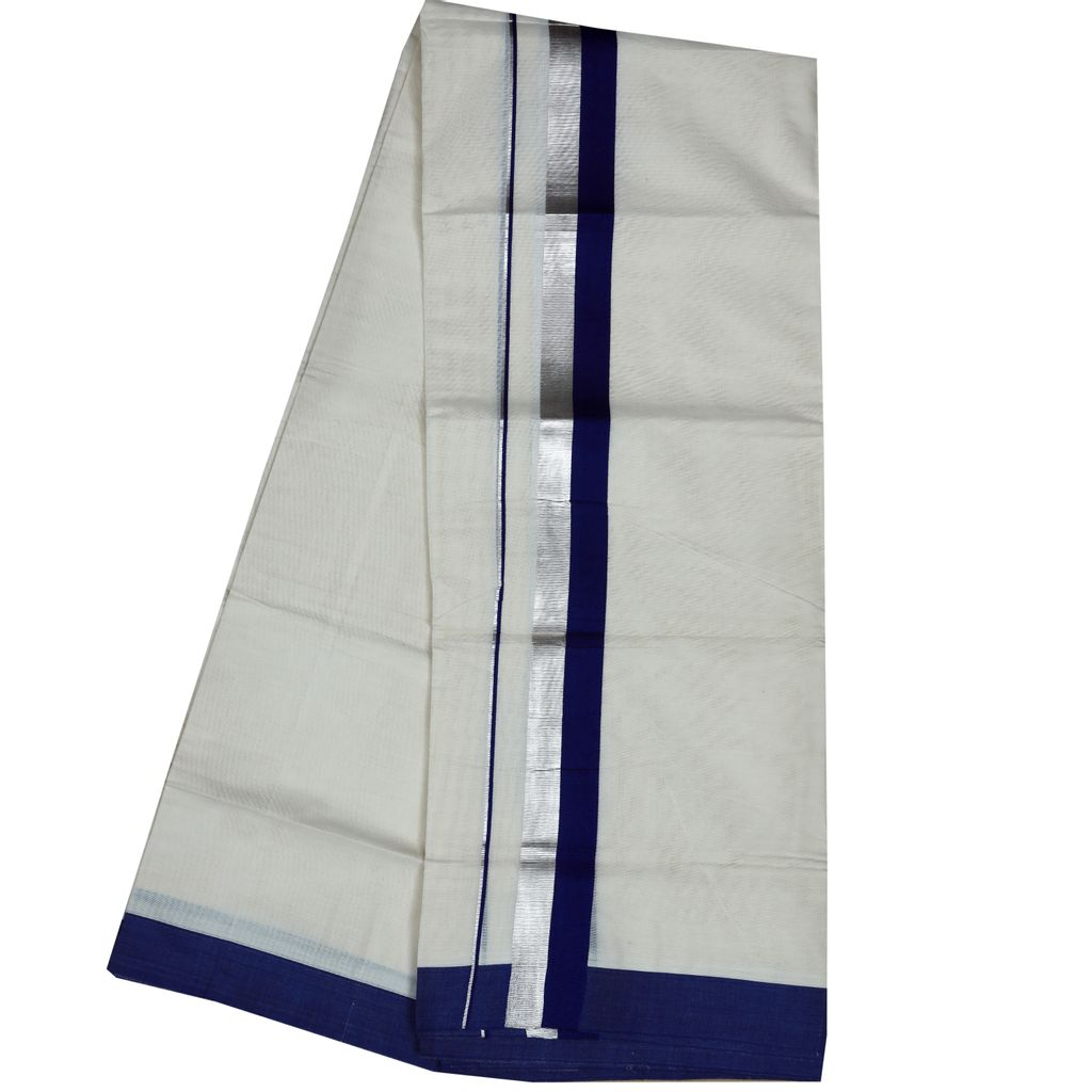 Men's Off White  Dhoti With Blue And Silver Border