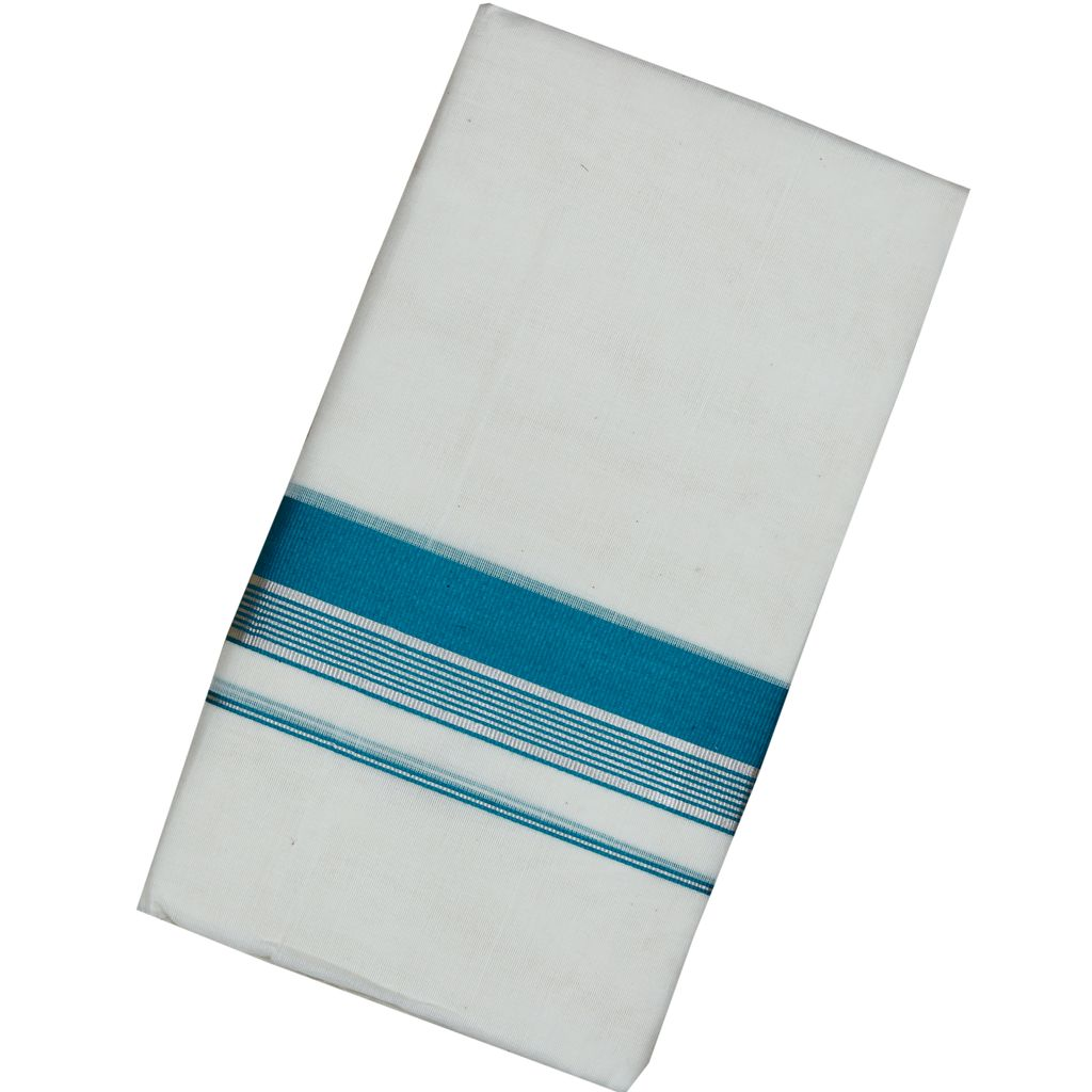 Men's Off White  Dhoti With Cyan And Silver Border