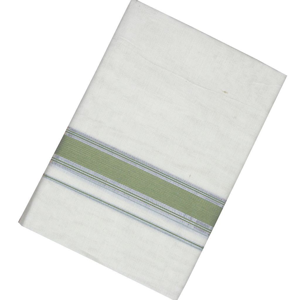 Men's Off White  Dhoti With Light Green And Silver Border
