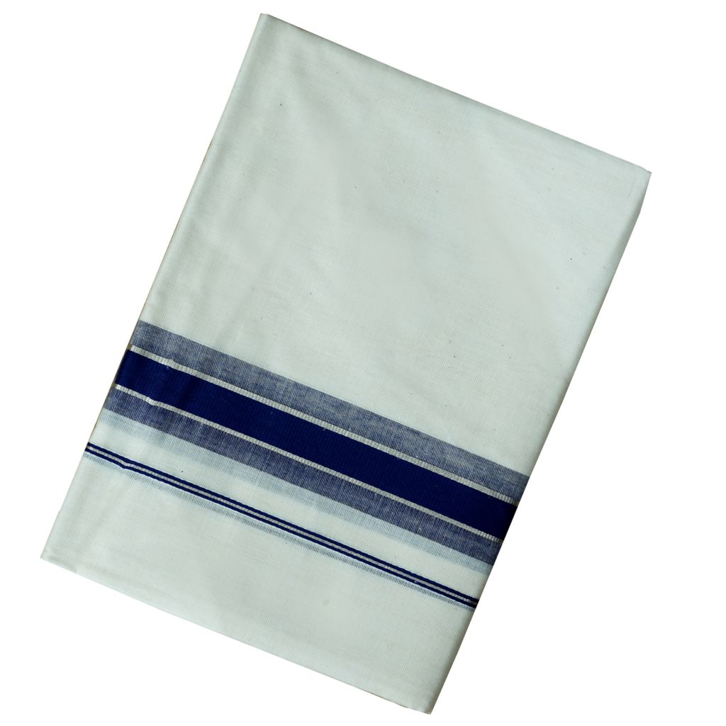 Men's Off-white Dhoti With Royal Blue And Silver Kara