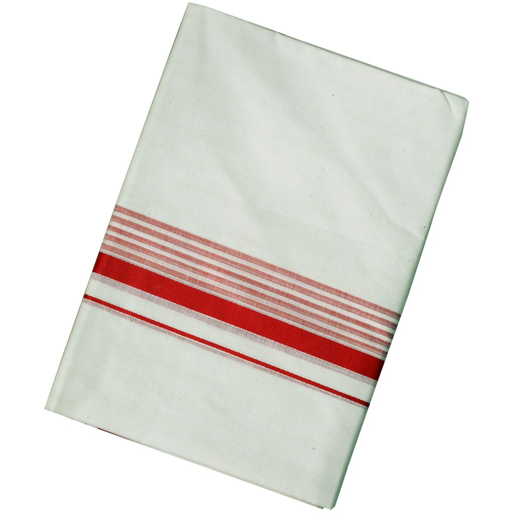 Men's Off White Dhoti With Red Border