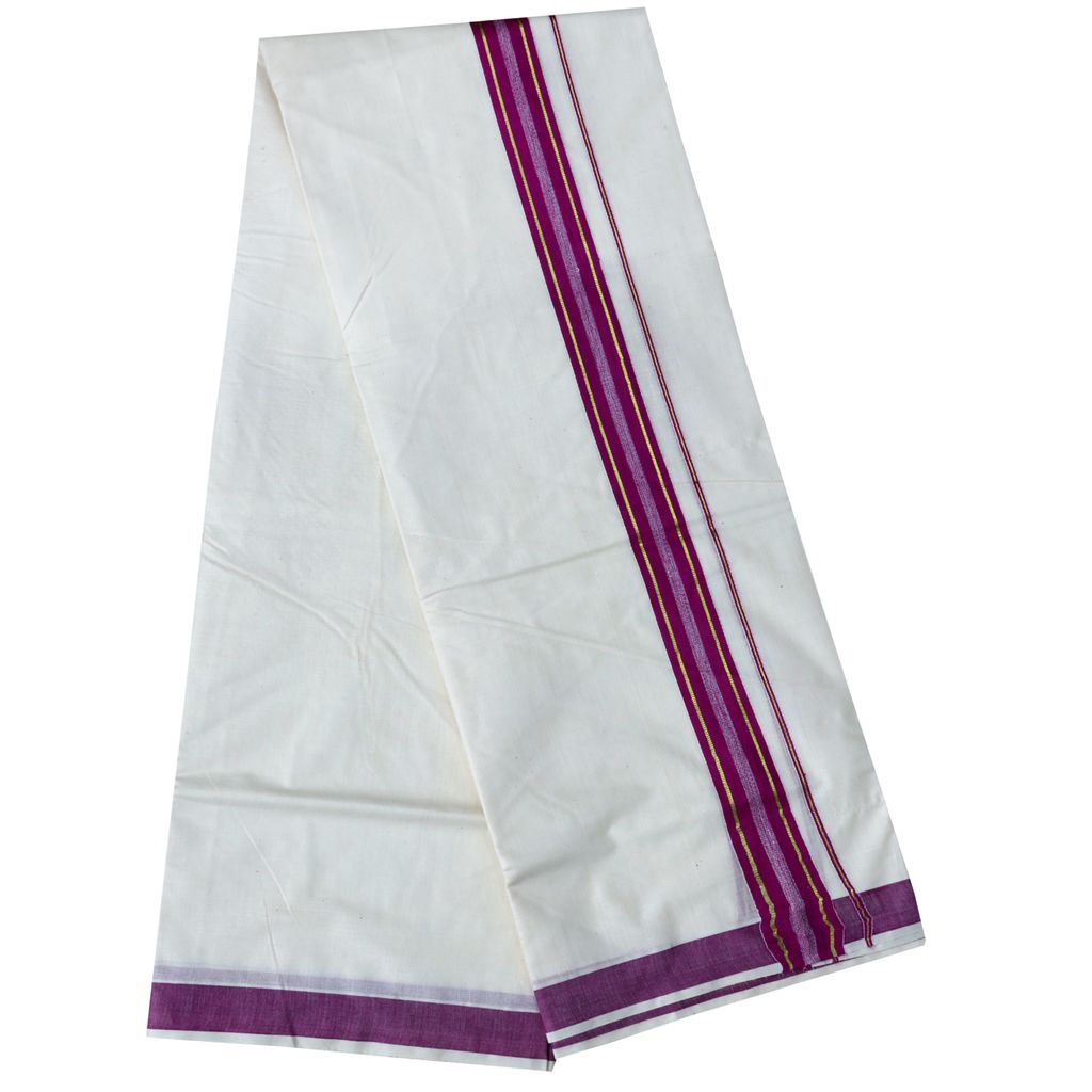 Men's Off White Dhoti With Purple And Golden Border