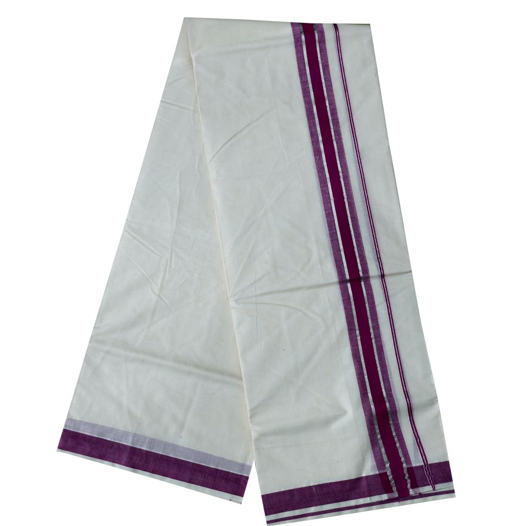 Men's Off-white Dhoti With Purple And Silver Kara