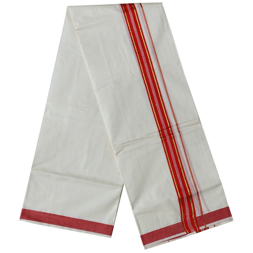 Men's Off White Dhoti With Red And Golden Border