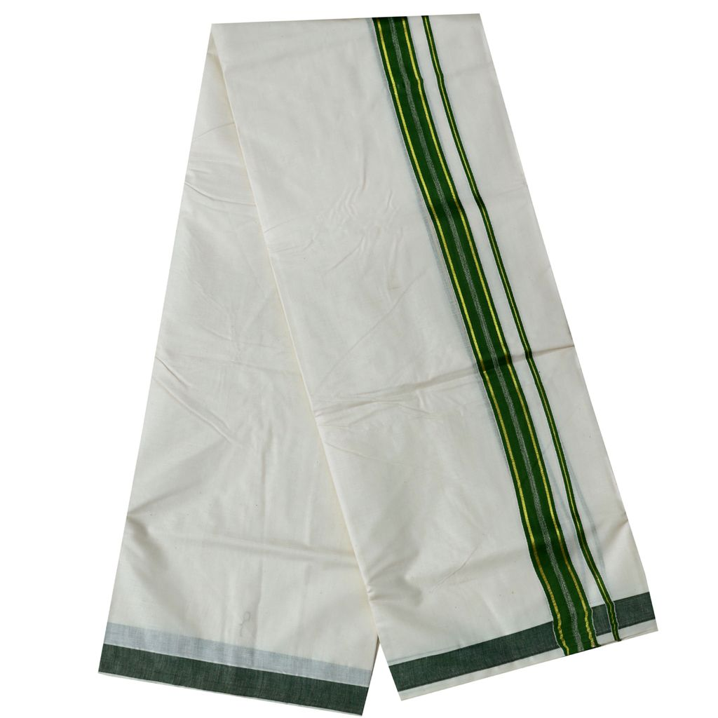 Men's Off White Dhoti With Olive Green And Golden Border