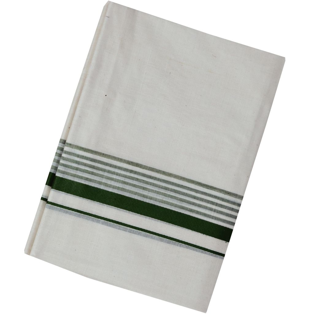 Men's Off White Dhoti With Olive Green Border