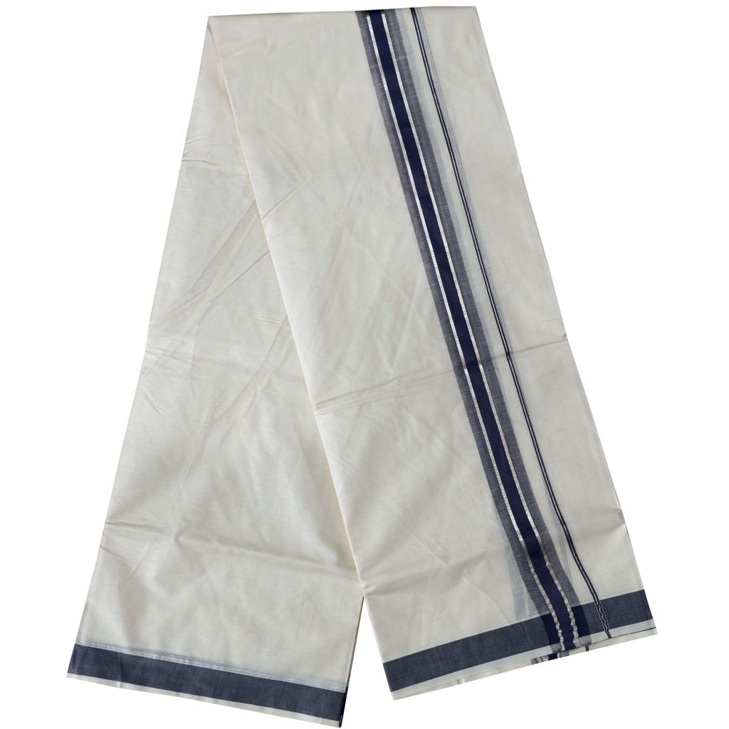 Men's Off-white Dhoti With Grey And Silver Kara
