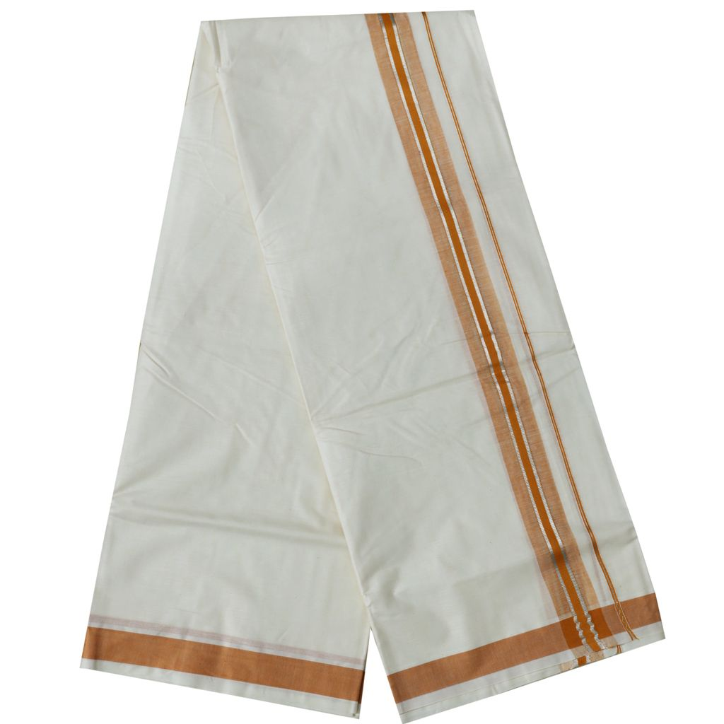 Men's Off-white Dhoti With Golden Yellow And Silver Kara