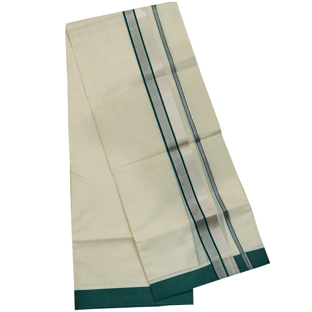 Men's Off White Double Dhoti With Dark Green And Silver Border